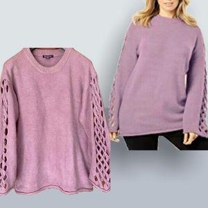 Roamans Braided Sleeve Oversized Mauve Sweater 2XL